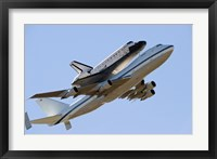 Framed Space Shuttle Endeavour Mounted on a  Modified Boeing 747 Shuttle Carrier Aircraft