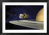 Framed Artists Concept of Cassini during the Saturn Orbit Insertion Maneuver