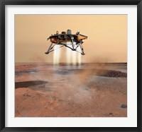 Framed Phoenix Mars Lander Arriving on Mars