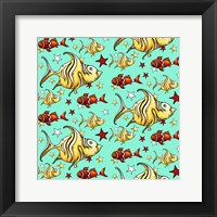 Yellow Angel Fish And Clownfish - Teal Framed Print