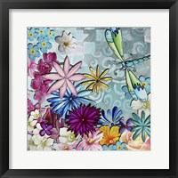 Aqua Brown Background Floral Framed Print