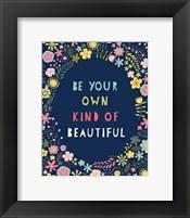 Framed Floral Quote IV Indigo