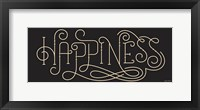 Framed Curly Script Happiness Thick