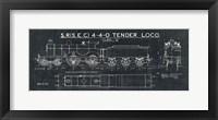 Train Blueprint II Black Framed Print