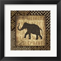Framed African Wild Elephant Border