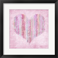 Framed Striped Pink Heart
