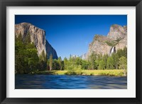 Framed Valley view with El Capitan, Cathedral Rocks, Bridalveil Falls, and Merced River Yosemite NP, CA