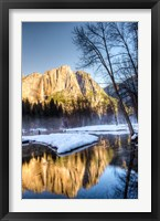 Framed Yosemite Falls reflection in Merced River, Yosemite, California