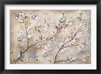 Framed Cherry Blossoms Taupe Landscape
