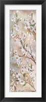 Cherry Blossoms Taupe Panel II Framed Print