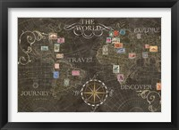 Old World Journey Stamps Black Framed Print