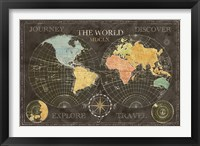 Old World Journey Map Black Framed Print