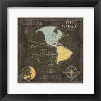 Old World Journey Map Black I Framed Print