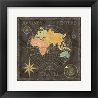 Old World Journey Map Black II Framed Print