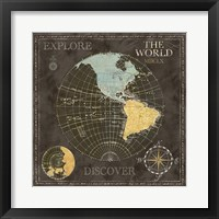 Old World Journey Map Black I Framed Print