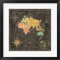 Framed Old World Journey Map Black II