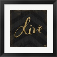 Chevron Sentiments Gold Heart Trio I Framed Print