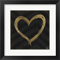 Chevron Sentiments Gold Heart Trio II Framed Print