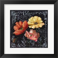 Flowers in Bloom Chalkboard II Framed Print