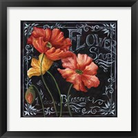Flowers in Bloom Chalkboard I Framed Print