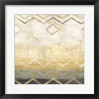 Abstract Waves Black/Gold I Framed Print