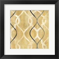 Framed Abstract Waves Black/Gold Tiles II
