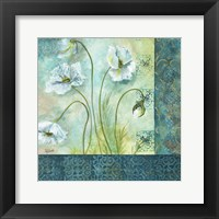 Framed White Poppy Garden II