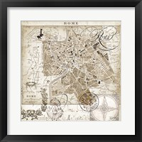 Framed Euro Map II - Rome
