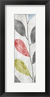 Gray Red Blue Green Leaves Framed Print