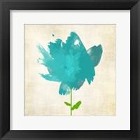 Framed Brush Stroke Flowers Blue