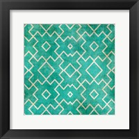 Tan on Teal Pattern Framed Print