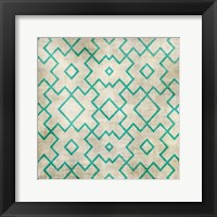 Teal on Tan Pattern Framed Print