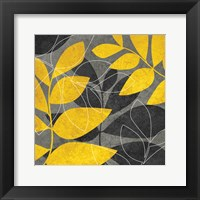 Framed Grey Gold Leaves 1