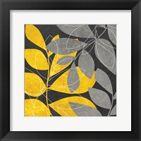 Framed Grey Gold Leaves 2