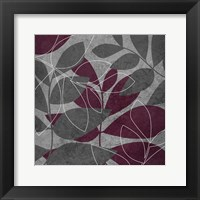 Grey Purple Leaves 1 Framed Print