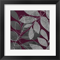 Grey Purple Leaves 2 Framed Print