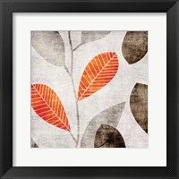 Framed Gray Orange Leaves 2