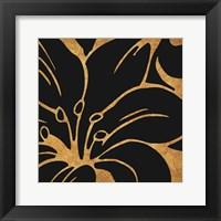 Framed Black and Gold Flora 3