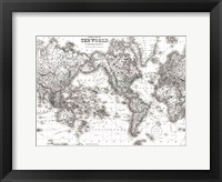 Framed World Map White