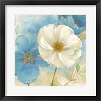 Watercolor Poppies I (Blue/White) Framed Print
