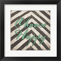 Chevron Sentiments Teal II Framed Print