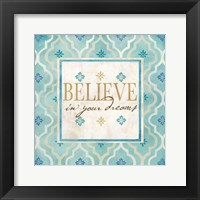 Blue Geo Sentiments I Framed Print