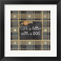 Dog Sentiment Plaid II Framed Print
