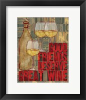 Printers Block Wine and Friends I Framed Print