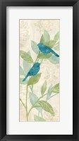 Love Bird Patterns Turquoise Panel I Framed Print