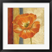Poppy Tapestry Stripes I Framed Print