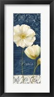 Paris Poppies Navy Blue Panel I Framed Print
