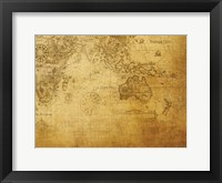 Vintage Map Indian Ocean Framed Print