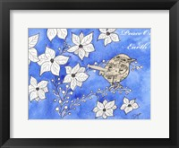 Framed Poinsettia Bird Song