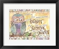Framed Pastel Owl Family 1 Braver Stronger Smarter